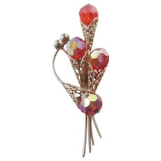 Vintage 1960s Flower Bouquet Pin Brooch Red Aurora Borealis Gold Plated Filigree Spray