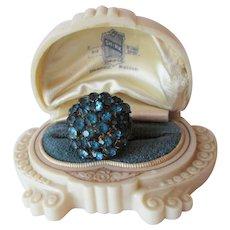 Art Deco Brass Blue Semi Precious Rhinestone Ring Vintage 1920s Celluloid Advertising Box Adjustable