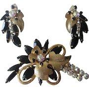 Juliana Delizza Elster Brooch Earrings Set Vintage 1960s Gold Plated Black Aurora Borealis Rhinestone Demi Parure