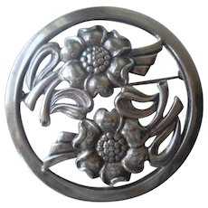 Art Deco Sterling Silver SS Flower Pin Vintage 1940s Signed Round Brooch