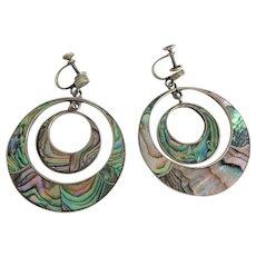 Huge Vintage Sterling Silver SS Abalone Statement Earrings Screwback Hecho En Mexico Drop Dangle