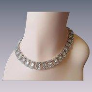 Signed Bogoff Rhinestone Choker Necklace Vintage 1950s Rhodium Plate