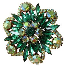 Emerald Green Rhinestone Brooch Vintage 1950s AB Large Pin