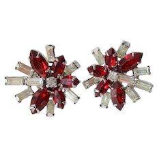Kramer NY Rhinestone Clip Earrings Vintage 1950s Ruby Red Clear Baguette