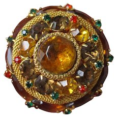 Domed Fall Colors Rhinestone Brooch Vintage 1950s Amber Gold Plated Pin