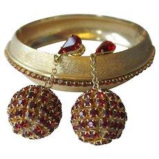 Les Bernard Bracelet Earrings Vintage 1960s Ruby Red Rhinestone Clamper Disco Ball Clips