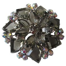 DeLizza & Elster Juliana Brooch Vintage 1960s Black Diamond Rhinestone Costume