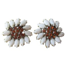 Weiss Clip Earrings Vintage 1950s White Milk Glass Amber Rhinestones