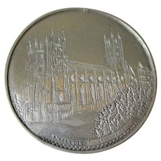 Sterling Silver Etched Brooch Vintage 1940s Souvenir Canterbury Cathedral England