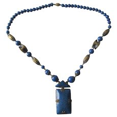 Art Deco Necklace Vintage 1940s Lapis Lazuli Beads