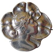 Antique Art Nouveau Figural Pin Sterling Foster and Bailey Lady Brooch