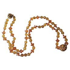 Miriam Haskell Glass Beaded Necklace Vintage 1950s Rhinestone Ball Amber Signed