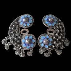 900 Silver Clip Earrings Vintage 1920s Etruscan Rosettes European Blue Enamel Floral