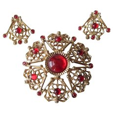 Sarah Coventry Brooch Earrings Vintage 1960s Costume Set Red Glass Cabochon