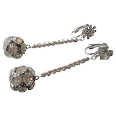 Rhinestone Statement Earrings Vintage 1950s Ball Drop Dangle Clip