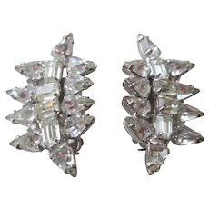 Art Deco Rhinestone Clip Earrings Vintage 1940s Clear Prong Set