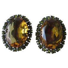 Amber Peridot Clip Earrings Vintage 1960s Glass Rhinestone Large