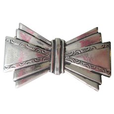 Art Deco Sterling Silver Bow Pin Vintage 1940s Signed Brooch