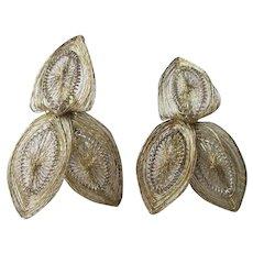 Fine Filigree Clip Earrings Vintage 1930s Gold Gilt Wire Work