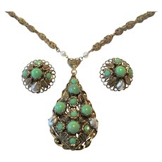 West Germany Jewelry Set Vintage 1950s Green Necklace Earrings Signed Demi Parure
