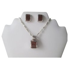 Mexico Sterling Silver SS Pendant Pierced Earrings Vintage 1960s Mahogany Obsidian