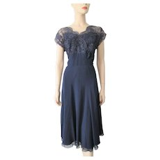 Navy Blue Dress Vintage 1940s Sheer Nylon Rayon Lace Cocktail Party Large