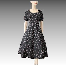 Black Floral Swing Dress Vintage 1950s Taffeta Hot Pink Bows Daisies Large