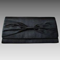 Black Satin Clutch Purse Vintage 1950s Bow Yamamoto Japan Handbag