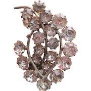 Early Hattie Carnegie Rhinestone Leaf Brooch Large Early Signed HC In Diamond
