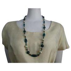 Art Deco Necklace Vintage 1930s Green Art Glass Brass Filigree Faux Pearl