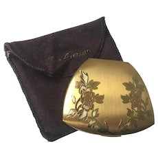 Art Nouveau Compact Elgin American Vintage 1930s Floral Powder Puff Mirror Vanity Dust Bag