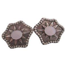 Sterling Silver Mother Of Pearl Pierced Earrings