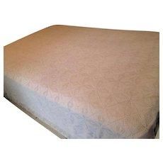 Ivory Hand Crocheted Bedspread Blanket Afghan Fringe Full Size Pristine Condition