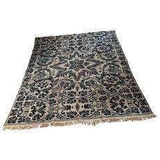 Antique 1800s Woven Coverlet Bedspread Quilt Blue White Reversible Grapes Leaves Center Seam Full