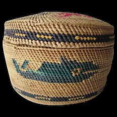 Tsimshian Native American Basket Vintage 1930s Pacific Northwest Whales Birds - Red Tag Sale Item