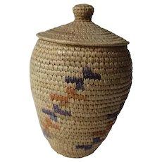 Yupik Alaska Eskimo Indian Lidded Basket Coiled Knobbed Lidded Hooper Bay Artist Signed Hang Tag