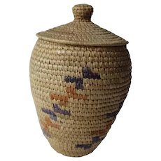 Yupik Alaska Eskimo Indian Lidded Basket Coiled Knobbed Lidded Hooper Bay Artist Signed Hang Tag