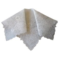 Exquisite Embroidered Handkerchief Vintage 1930s Hand Stitched Wedding Bridal