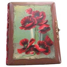 Antique Victorian Photo Album Celluloid Poppies Red Cut Velvet