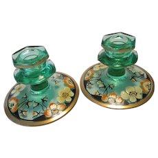 Art Deco Green Glass Floral Candlesticks Vintage 1920s Diamond Glass Company