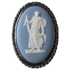 Blue Jasper Wedgwood Cameo Sterling Silver SS Brooch Vintage 1950s Pendant Pin