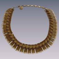Lisner Egyptian Revival Choker Collar Necklace Vintage 1950s Cleopatra Signed Designer Jewelry