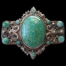 Art Deco Brooch Vintage 1920s Mottled Green Czech Art Glass Hubbel Beads Faux Turquoise Signed