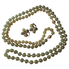 Vogue Art Glass Jewelry Set Demi Parure Vintage 1950s Necklace Extender Clip Earrings Olive Green Yellow Gold