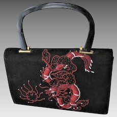 Black Beaded Dragon Purse Handbag Vintage 1940s Kelly Bag