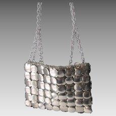 Walborg Purse Handbag Vintage 1970s Silver Plated Discs Chain Handle Italian