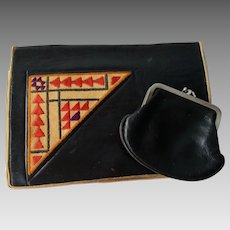 Art Deco Clutch Purse Vintage 1920s Embroidered Black Coin Purse