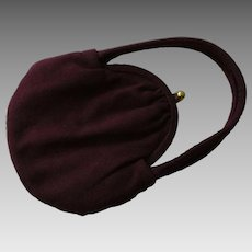 Deep Purple Wool Purse Vintage 1940s Small Wine Handbag