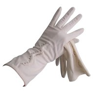 Beaded White Nylon Gloves Vintage 1960s Wedding Bridal Party Prom