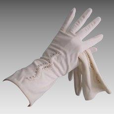 Beaded White Nylon Gloves Vintage 1960s Wedding Bridal Party Prom